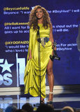 Beyoncé Knowles looked stunning in a yellow dress at the BET Awards in LA.