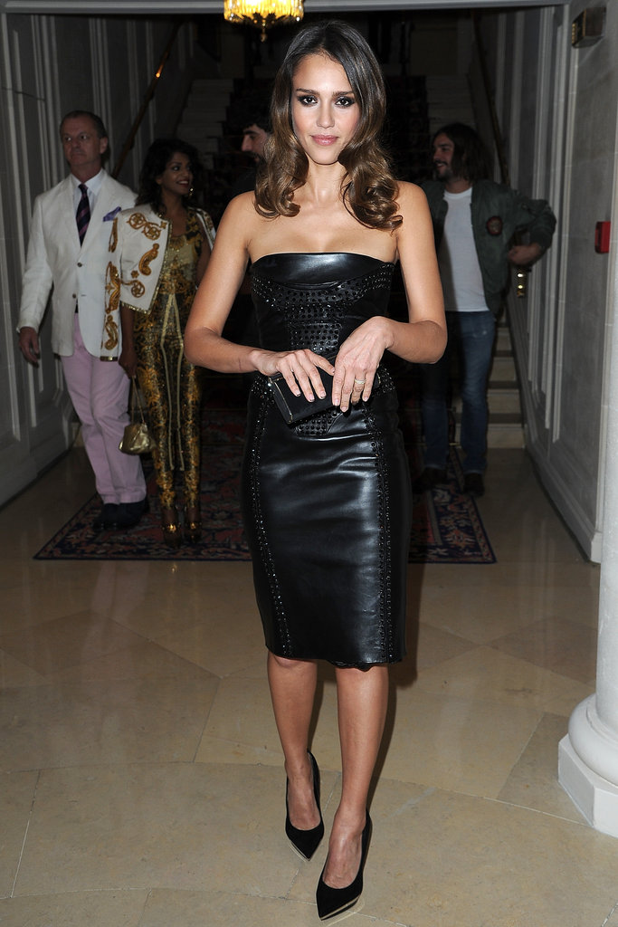 Jessica Alba arrived at the Versace show for Paris Fashion Week.