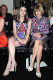 Anna Wintour shared the front-row spotlight with daughter Bee Shaffer. Both showed off their statement prints in Versace's front row.