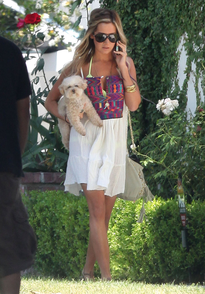 Ashley Tisdale carried her dog to the beach in Malibu on her birthday.