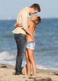Ashley Tisdale and Scott Speer kissed on the beach in Malibu.