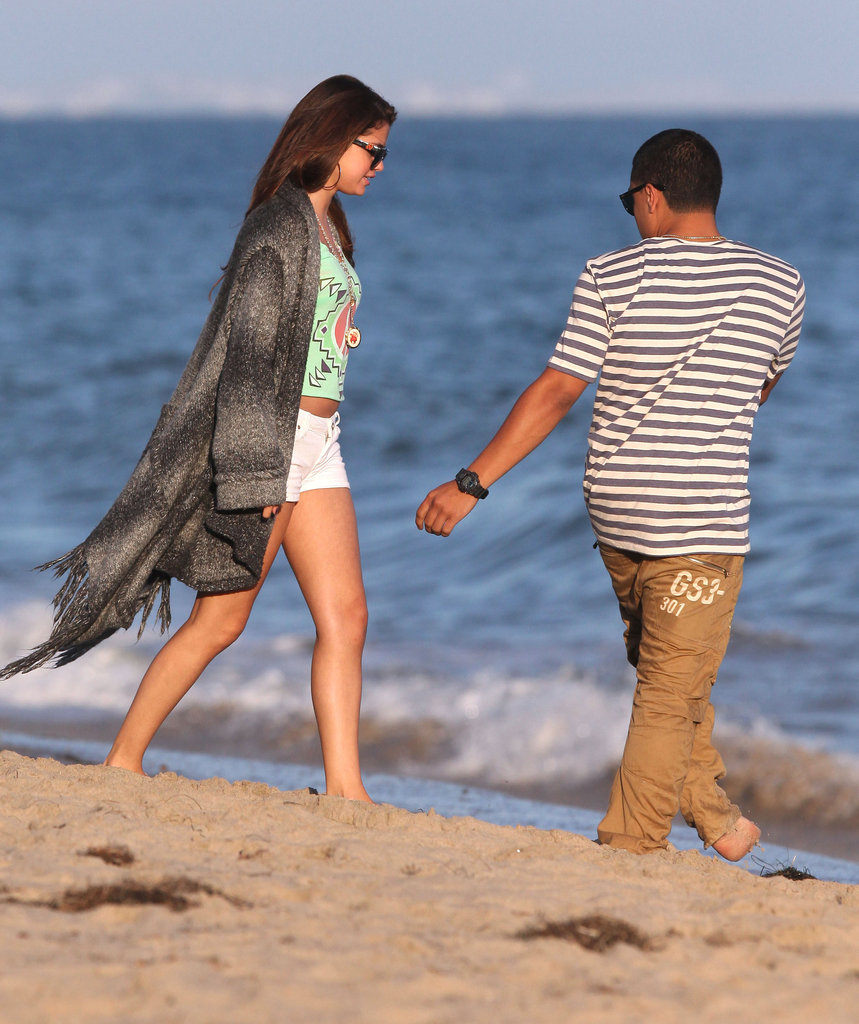 Selena Gomez was on the beach in Malibu celebrating Ashley Tisdale's brithday.