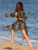 Selena Gomez ran on the beach in Malibu.