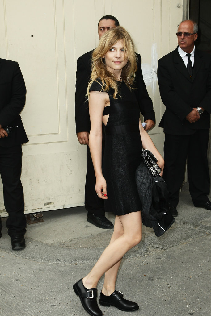 Clemence Poesy arrived at the Chanel show in Paris.