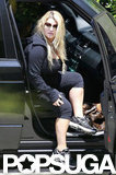 Jessica Simpson worked out after giving birth.