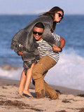 Selena Gomez got picked up by a friend on the beach.