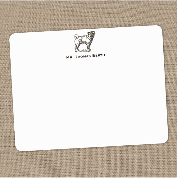 Personalized Pug Flat Notecards