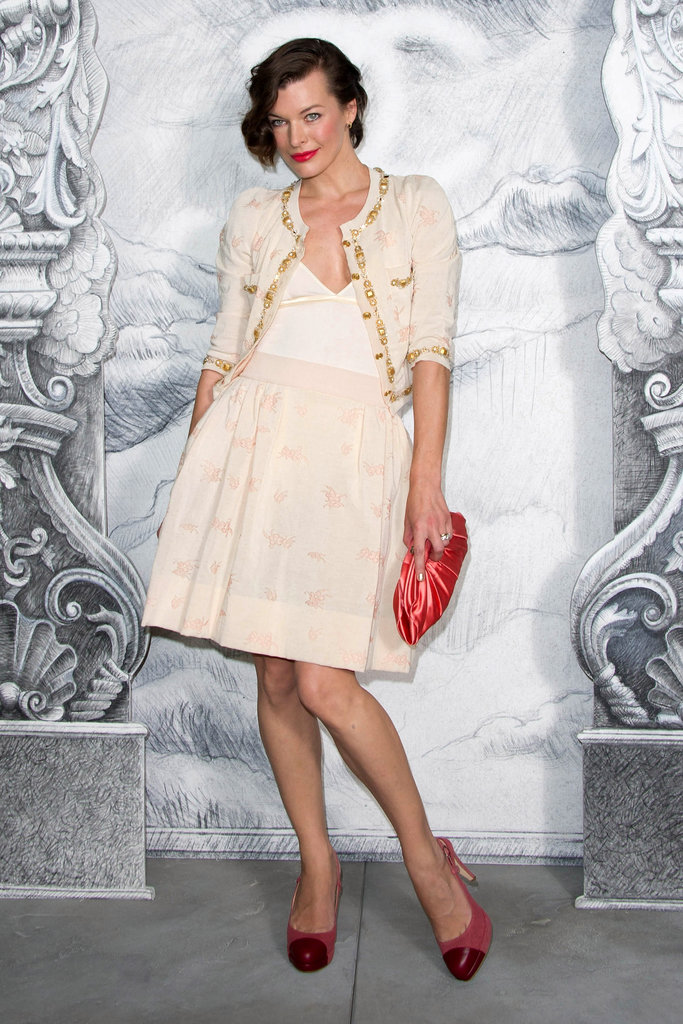 Milla Jovovich worked a ladylike angle at Chanel.