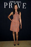 Zoe Saldana opted for a classic silhouette, updated in tangerine hue and covered in sparkle at Armani Privé.