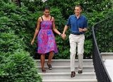 A patriotic Michelle and Barack walked hand in hand in 2011.
