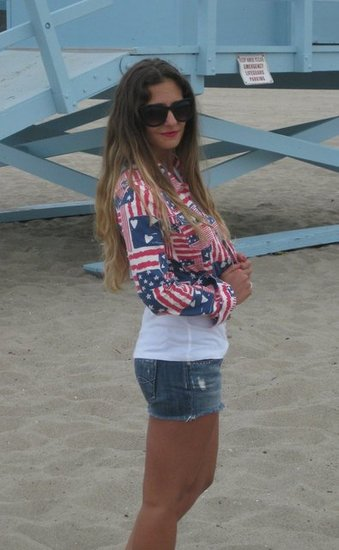 H+M American Flag Cropped Denim Jacket - 4th of July dressing - What to wear on the 4th of July