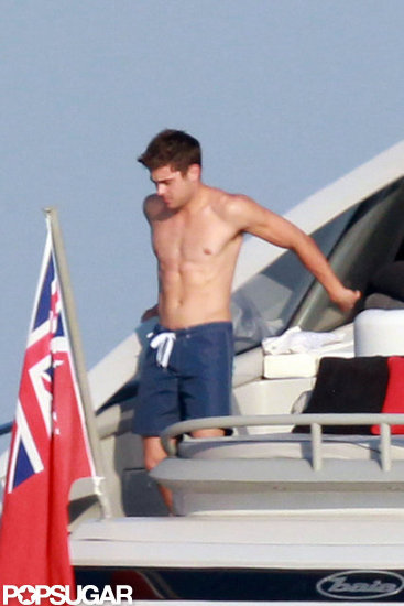 Zac Efron Gets Shirtless and Sports a Mustache on Independence Day Getaway