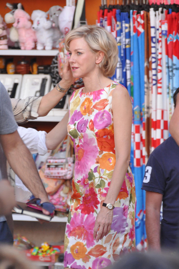 Naomi Watts wore a floral dress as Princess Diana.