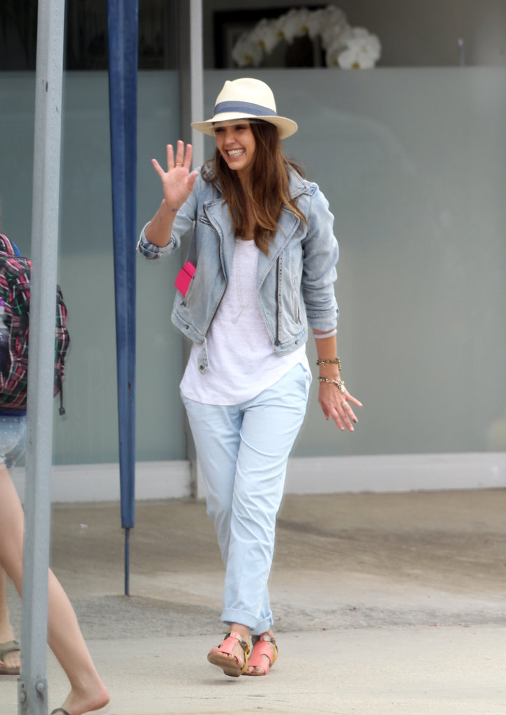 Jessica Alba wore denim on denim.