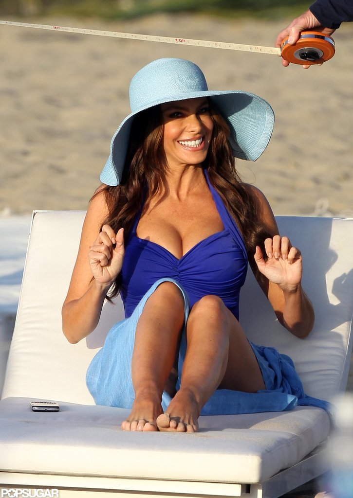 Sofia Vergara lounged on Venice Beach while filming a commercial in March 2011.