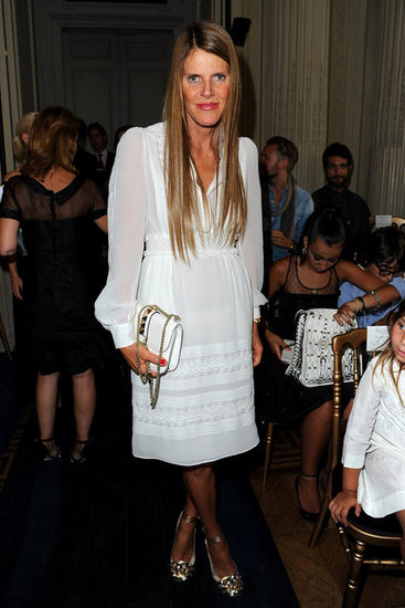 Anna Dello Russo looked lovely in white at Valentino.