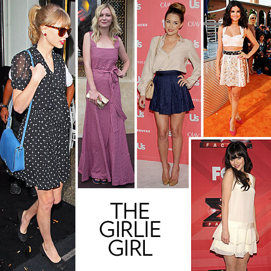 Like Taylor Swift and Kirsten Dunst, your style is sweet and feminine. You play up your looks with bow accents, pearl earrings, and pretty details like floral prints and ruffles and have a soft spot for the prettiest Summer dresses with classically feminine silhouettes. If you had your pick of designer collections, we're guessing you'd be all over Valentino's Spring looks with a luxurious twist on all of your favorites — and you never met a bow you didn't like. Icons: You grew up with a love of icons like Ann-Margret in Bye Bye Birdie, but now you're inspired by celebs like Taylor, Lauren Conrad, and Zooey Deschanel, who channel girlish charm in everything from street style to event wear with fit-and-flare dresses — and a retro-girlie red lip. Key Pieces: Fit-and-flare sundress, bow-adorned heels (or ballet flats), pearls, and cat-eye shades. Hot spots: Erdem's line of covetable florals and lacy dresses would be a shopping dream come true, as would Valentino. In this photo (clockwise from left): Taylor Swift, Kirsten Dunst, Lauren Conrad, Selena Gomez, and Zooey Deschanel