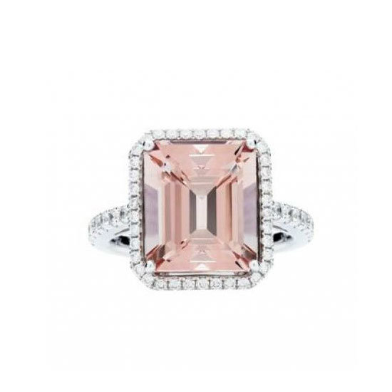 18 carat pink morganite and diamond ring, $6,500, Jan Logan