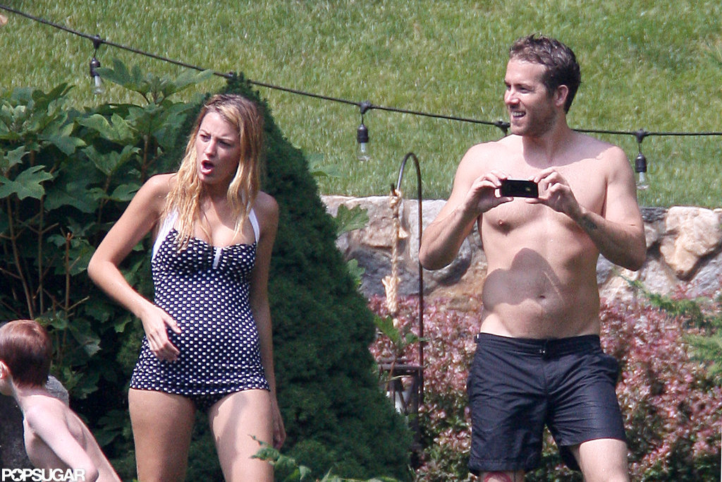 Blake Lively wore a polka-dot swimsuit with a shirtless Ryan Reynolds in New York.