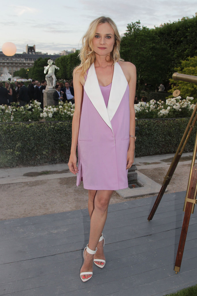 Diane Kruger was at it again in a lilac-hued Phillip Lim tuxedo vest and Givenchy heels at Menswear Paris Fashion Week.