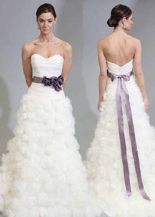 Beautiful purple and white wedding dresses