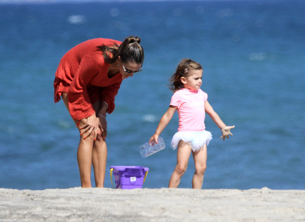 Alessandra Ambrosio Gets Playful on the Beach With Anja