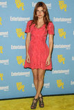 Lake Bell paired a bright pink dress with neutral-toned lace-up sandals.