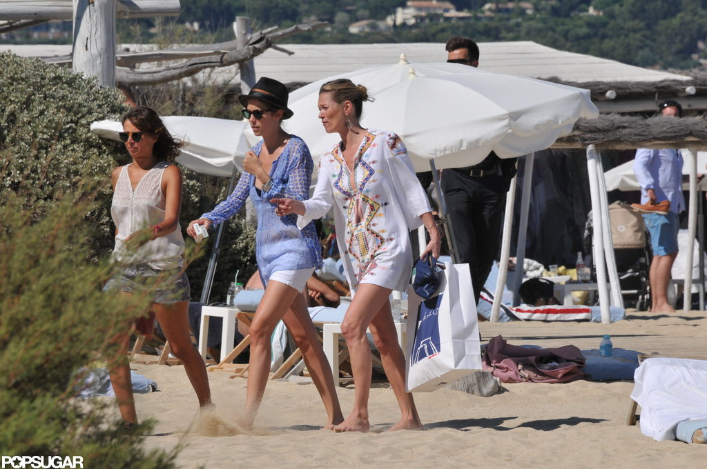 Kate Moss hung out with friends at the beach.