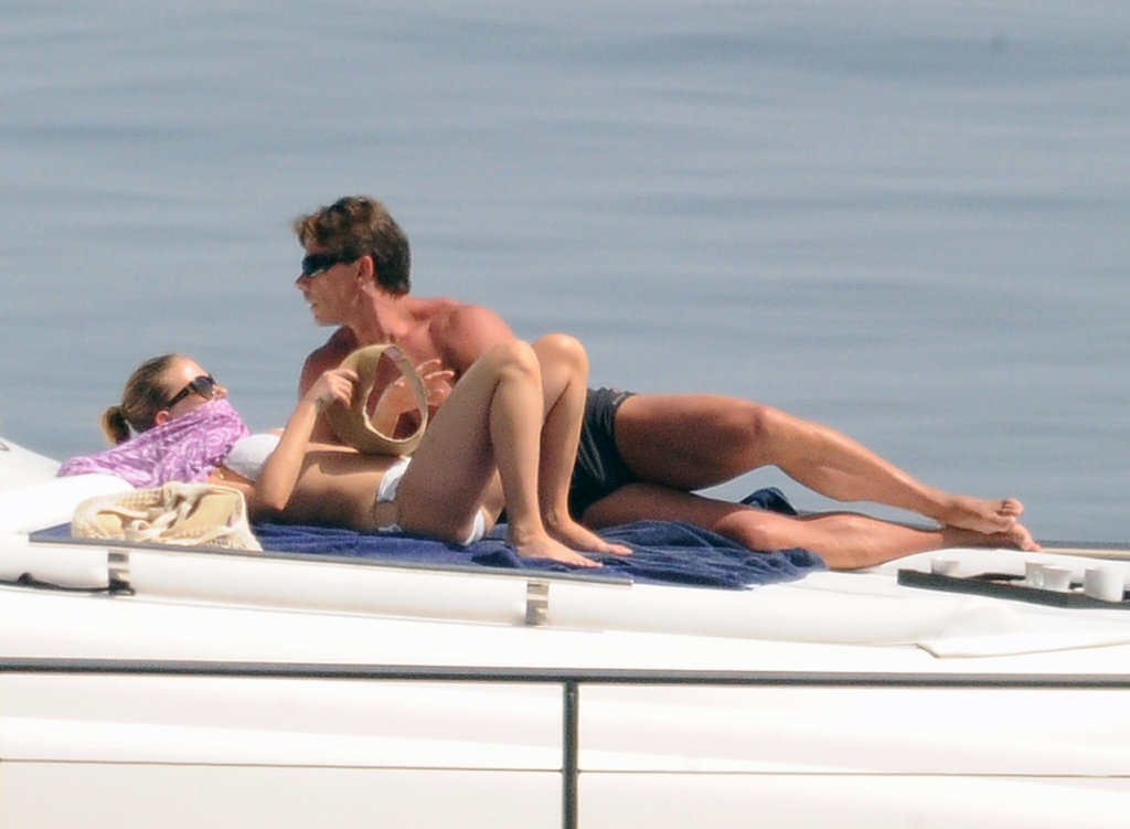 Scarlett Johansson enjoyed a day on sunbathing on a yacht.