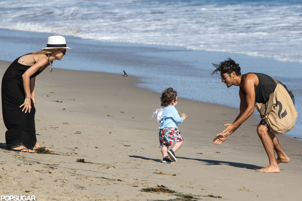 Rachel Zoe and her friend played with Skyler while he pranced on the beach in Malibu.