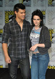 Kristen Stewart and Taylor Lautner posed together in 2009 while promoting New Moon.