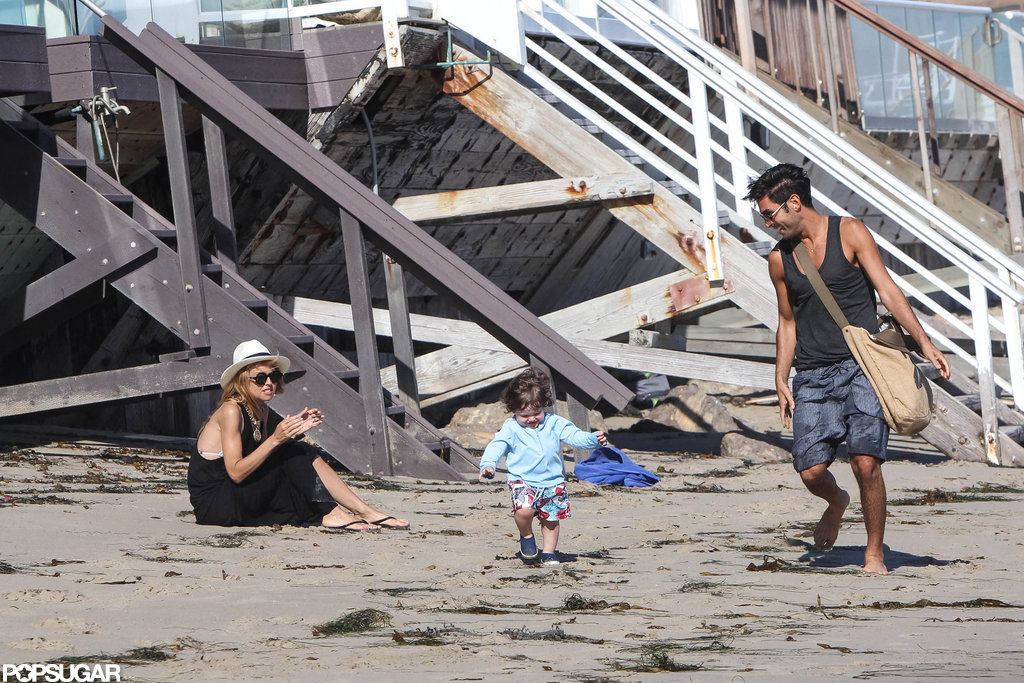 Rachel Zoe cheered on son Skyler while he walked on the beach in Malibu.