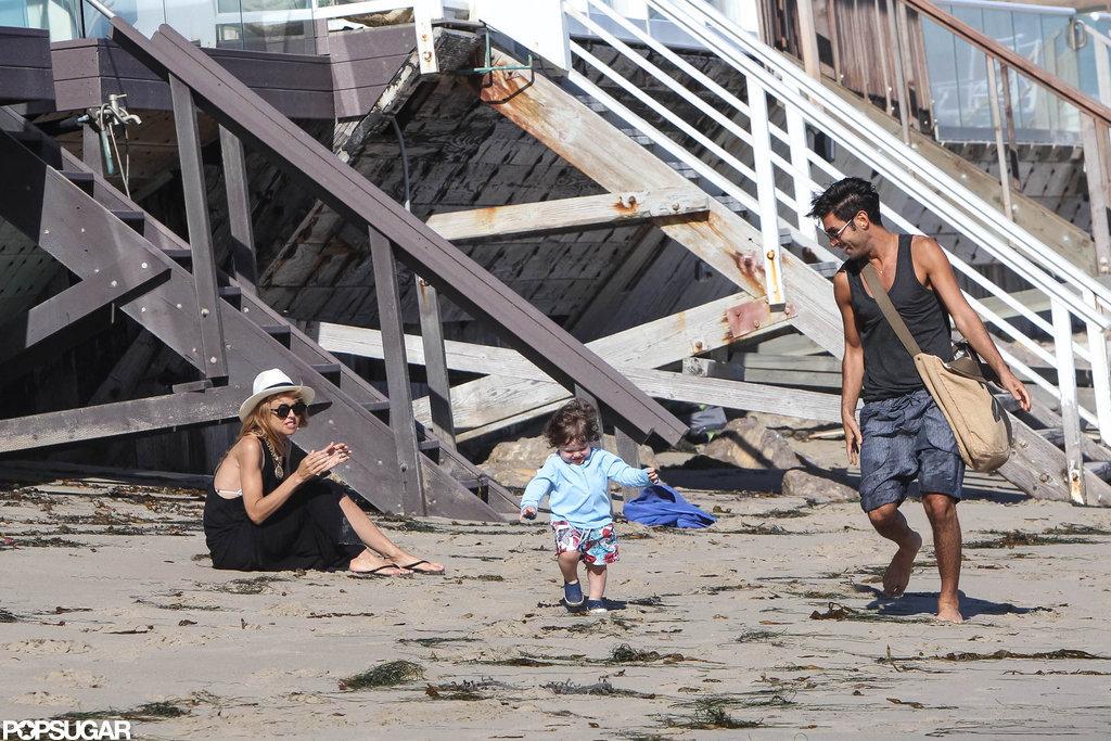 Rachel Zoe cheered on son Skyler while he walked on the beach in Malibu.
