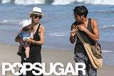 Rachel Zoe and a friend took a walk on the beach with Skyler in Malibu.