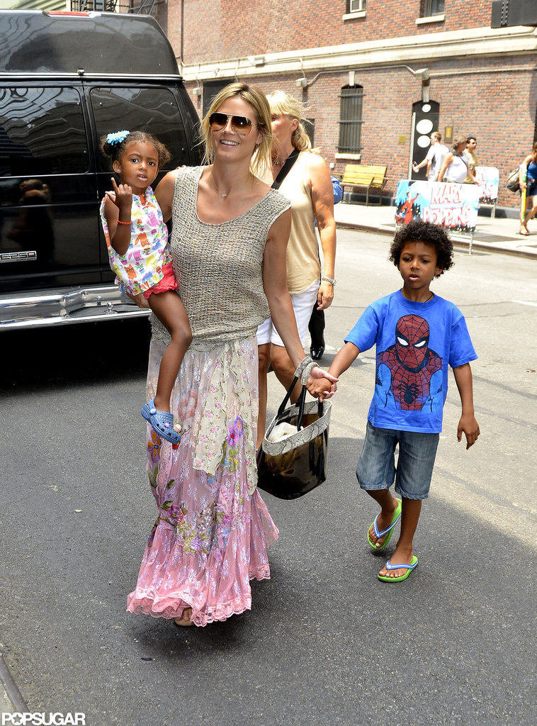 Heidi Klum wore a long flowing skirt while hanging with her kids in NYC.