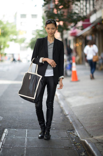 Say hello to your sleek side with a pair of leather pants, an ultraluxe tote, and a slick blazer. Photo courtesy of Adam Katz Sinding