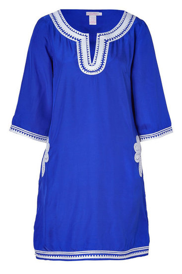 If you're looking for a more minimal look, this cobalt blue tunic with white embroidery is the perfect cover-up option.  Collette by Collette Dinnigan Azur Embroidered Short Caftan ($262, originally $375)