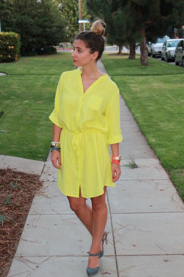 Neon Yellow Dress. Old Navy Neon Yellow Linen Dress. Two Toned Mary Jane Pumps from Sole Society. 