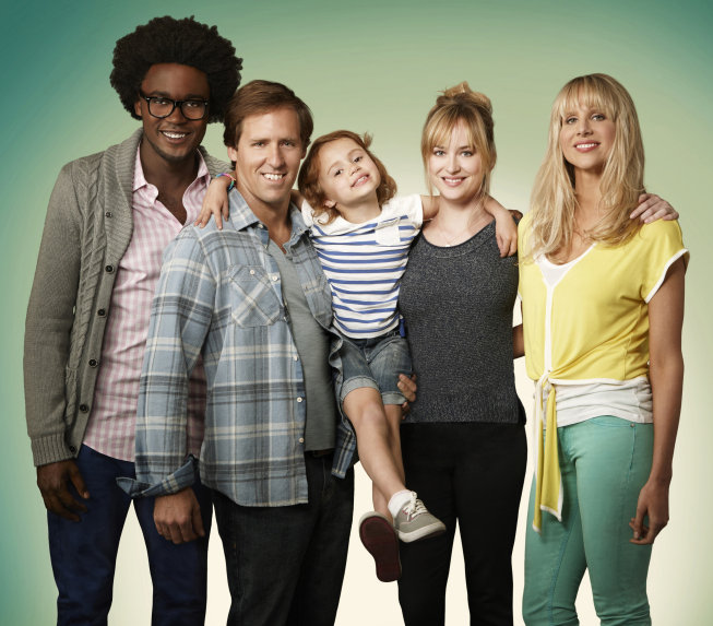 Echo Kellum, Nat Faxon, Maggie Jones, Dakota Johnson, and Lucy Punch on Ben and Kate. Photo courtesy of Fox