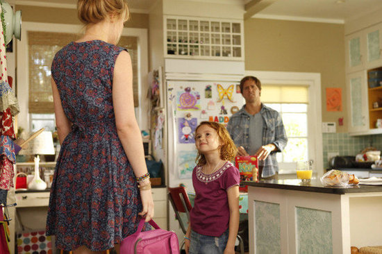 Nat Faxon, Maggie Jones, and Dakota Johnson on Ben and Kate. Photo courtesy of Fox