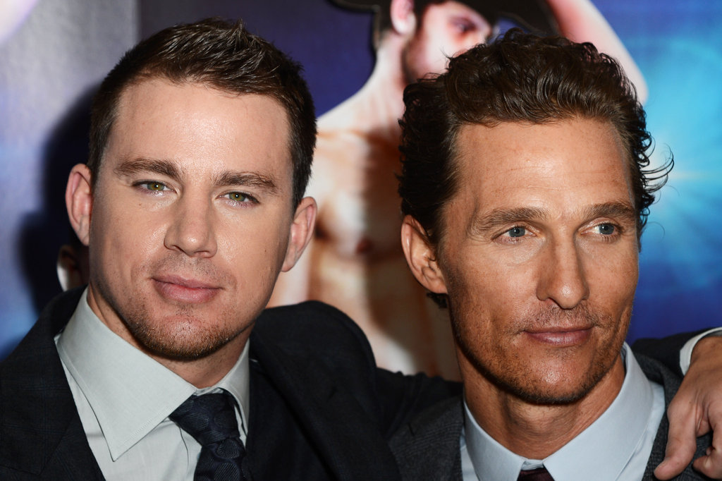 Matthew McConaughey and Channing Tatum posed arm-in-arm at the Magic Mike premiere in London.