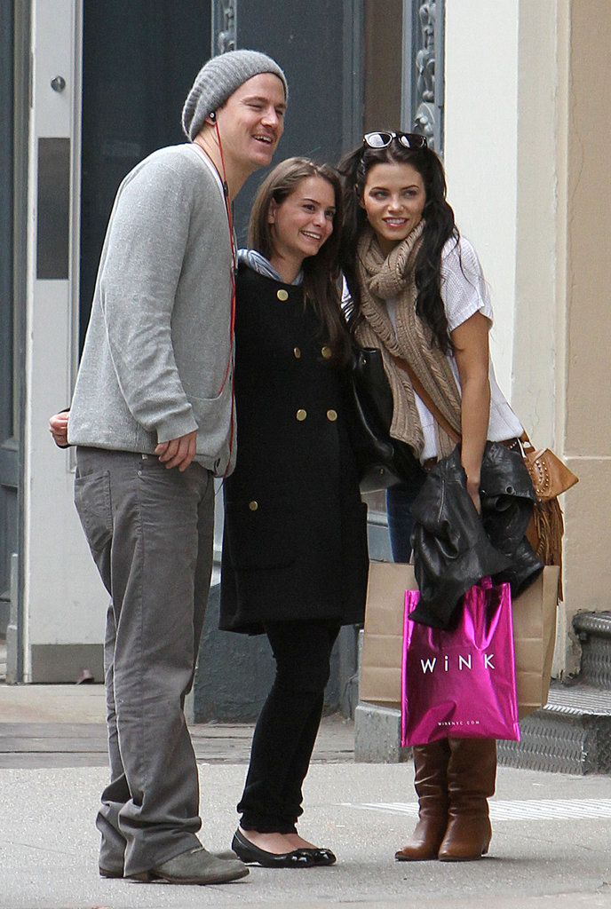 Channing Tatum and Jenna Dewan posed with a fan while walking around NYC in April 2010.