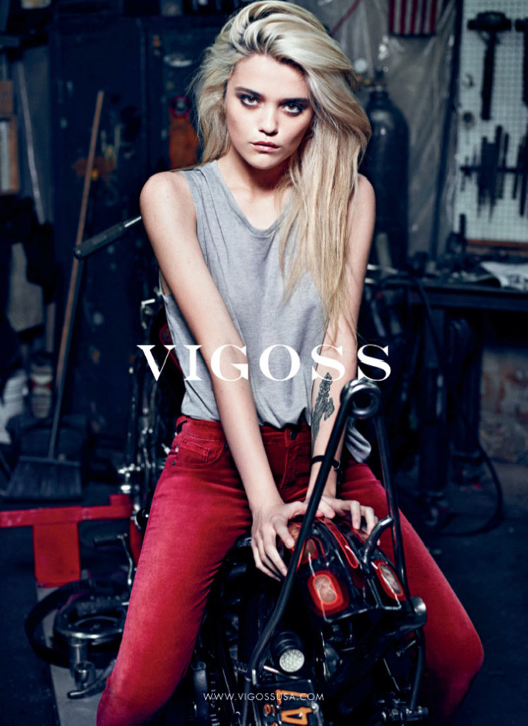 We love these red jeans from Vigoss's Fall ad campaign.