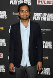Aziz Ansari arrived at the Shut Up & Play the Hits screening in NYC.