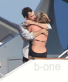 Kate Moss and Jamie Hince showed PDA while hanging out on a yacht in the Mediterranean during July 2012.