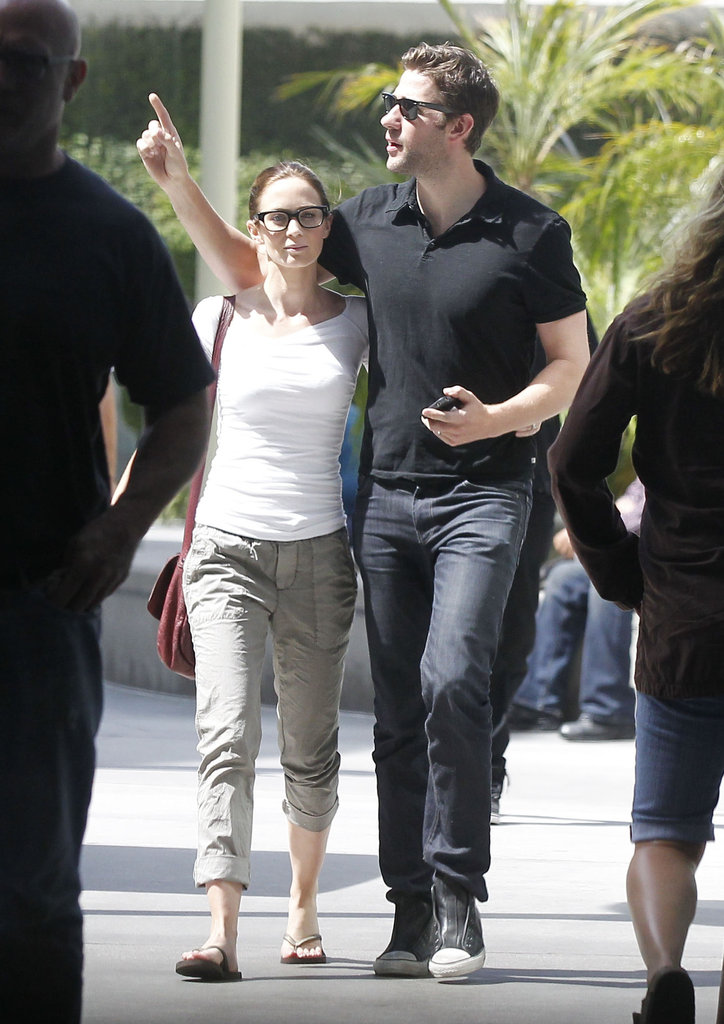 Emily Blunt and John Krasinski chatted after leaving a movie theater in West Hollywood.
