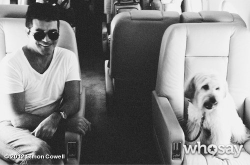 Simon Cowell travelled in style with Pudsey the Dog. Source: Simon Cowell on WhoSay