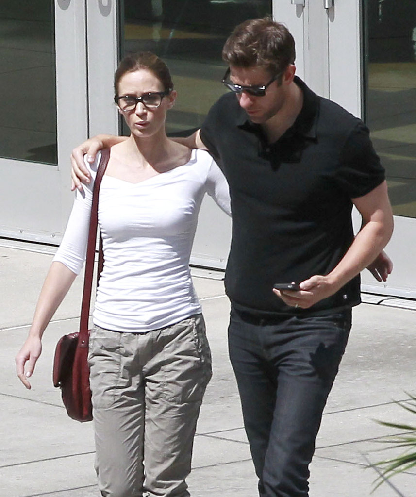 Emily Blunt and John Krasinski both kept casual for a movie date in West Hollywood.