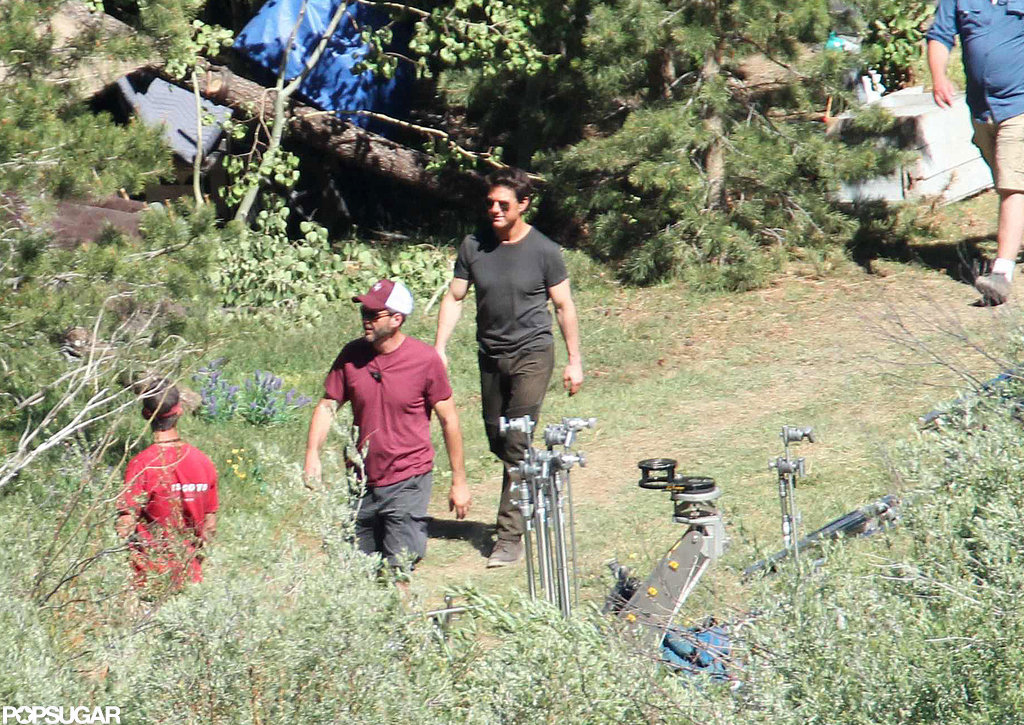 Tom Cruise had a smile on his face on the Oblivion set in CA.
