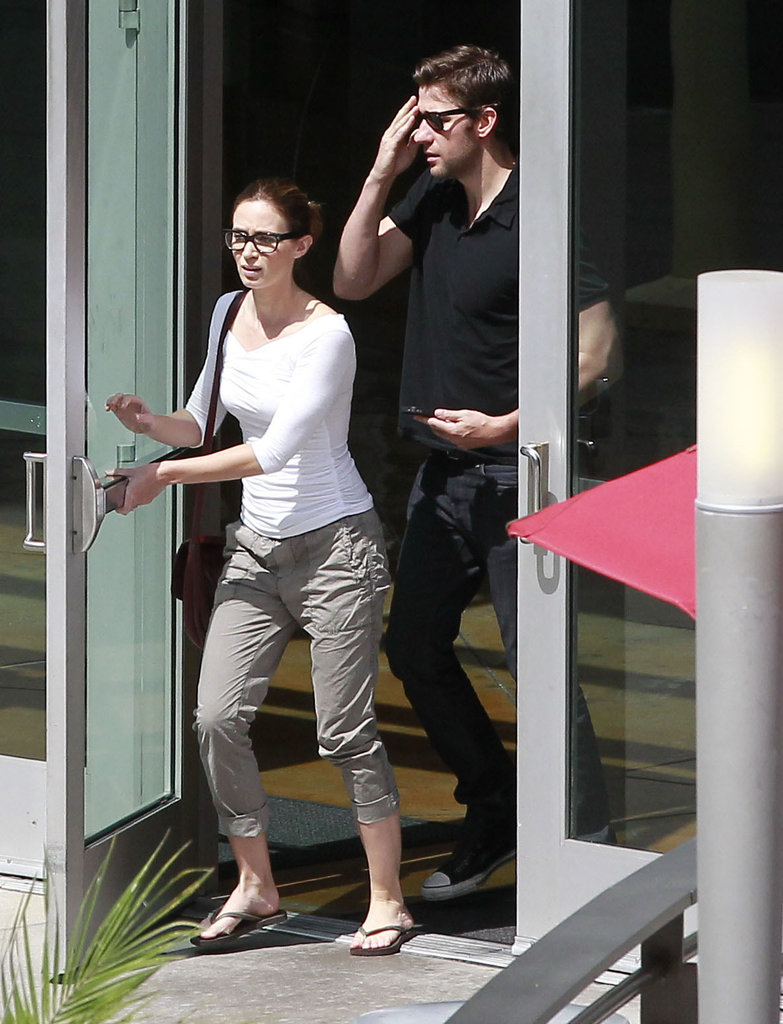 Emily Blunt and John Krasinski exited a West Hollywood movie theater.